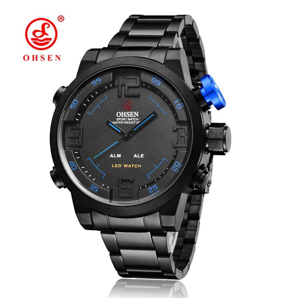 New OHSEN Digital Quartz Men Watches Male Gift Blue Black dial 30M Waterproof Fashion Military LED Wristwatch relogio masculino