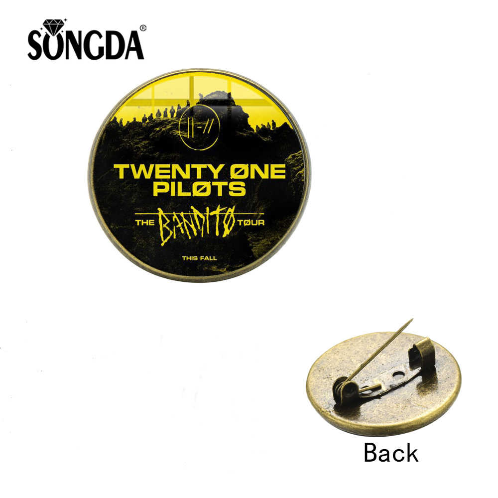 SONGDA 2019 New Twenty One Pilots Brooch Punk Rock Trendy Music Band Logo Glass Photo Cabochon Backpack Lapel Pin Button Badges