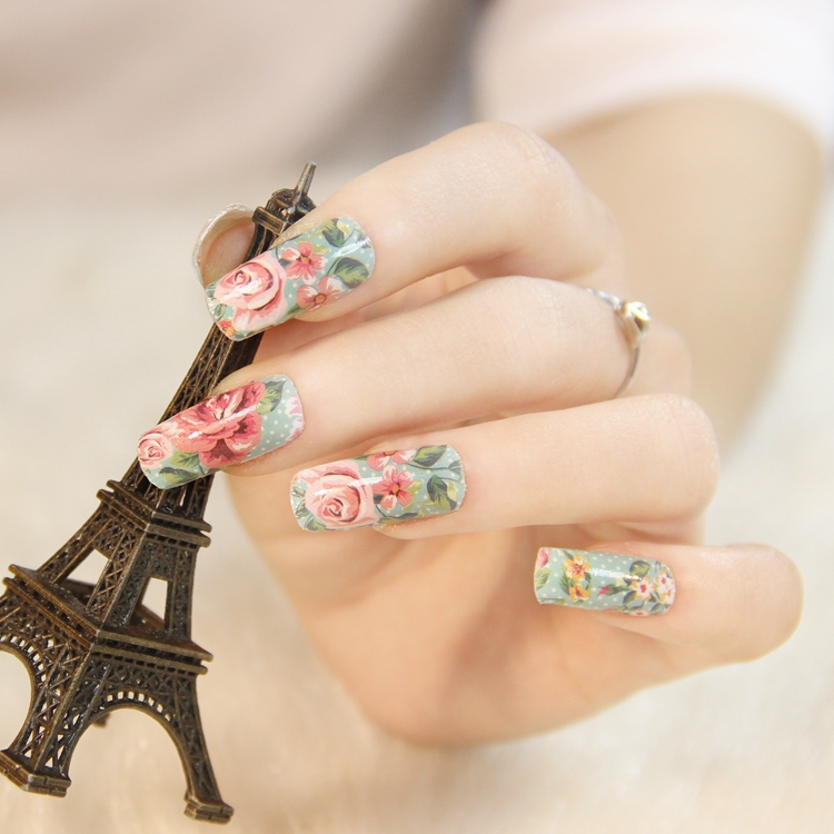 $1 flowers designs for choose fashion nails art stickers Decals DIY ...