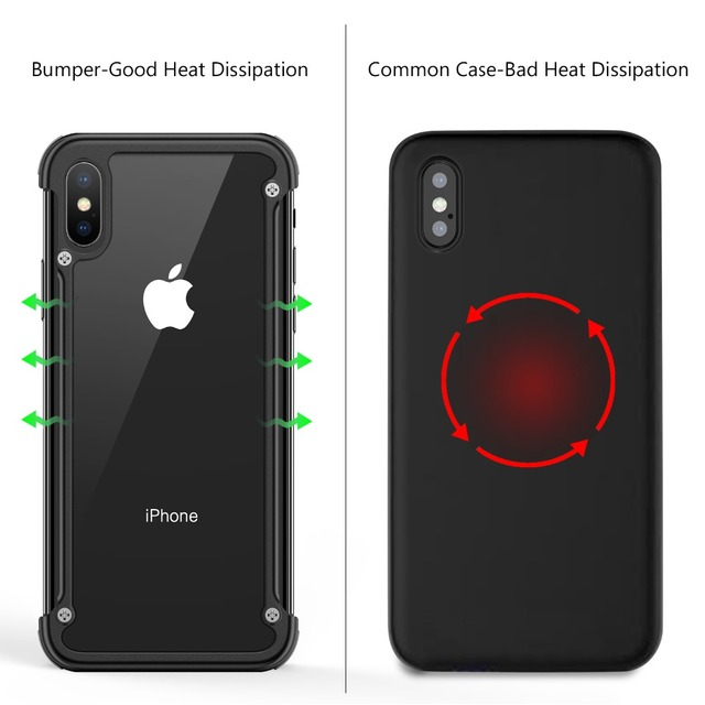 iPhone XS XR XS Max Luxury Shockproof Metal Bumper Airbags Back Case Cover