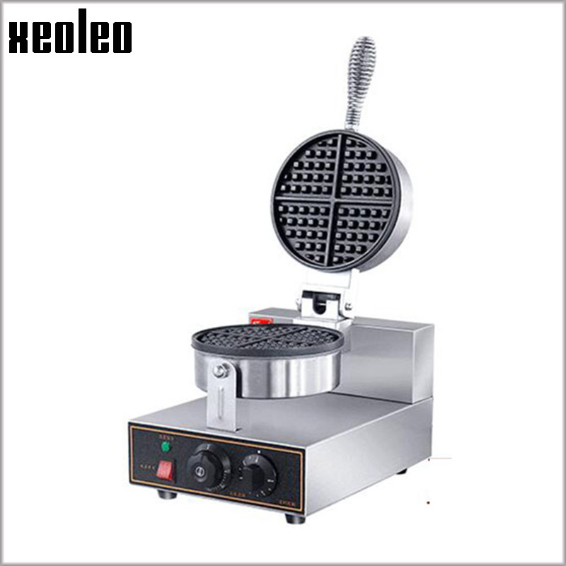 XEOLEO Waffle maker 1250W Single Head Waffle machine Commercial Waffle Makers Non-Stick Stainless steel 5min Timing ~250 degree xeoleo commercial induction 3500w stainless steel induction cookers with timing for hotpot soup stewing stir fly