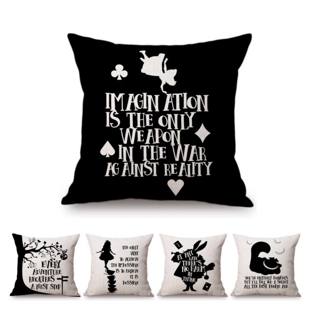 Quotes On Sofa Nordic Black White Alice Wonderland Letters Print Quotes Art Home Decorative Sofa Throw Pillow Case Linen Kids Cushion Cover