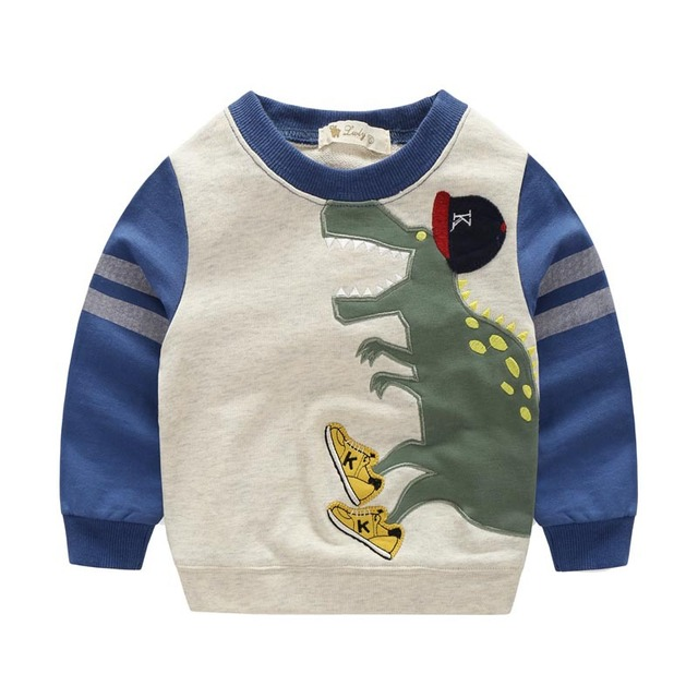 Autumn Boys girls hoodies cotton sweatshirt cartoon Print monster dinosaurs baby kids clothes  bobo choses children clothing