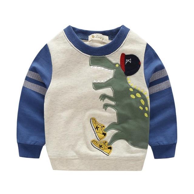 Outono Meninos meninas hoodies camisola de algodão de Impressão dos desenhos animados monstro dinossauros crianças roupas roupa dos miúdos do bebê bobo choses