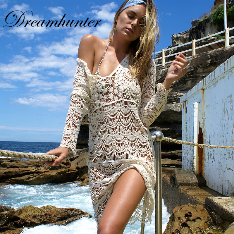 <font><b>Sexy</b></font> <font><b>Women</b></font> <font><b>Lace</b></font> <font><b>Crochet</b></font> <font><b>Bikini</b></font> <font><b>Swimwear</b></font> Bathing Suit Summer <font><b>Women</b></font> Beach <font><b>Cover</b></font> Up long sleeve Beach Dress Seaside Swim dress <font><b>2018</b></font> image