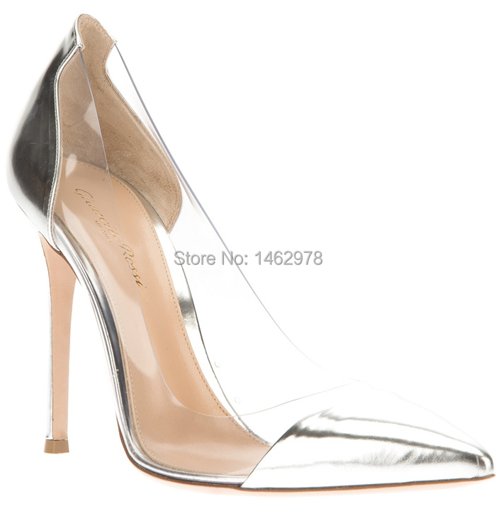 2015 spring and summer gianvito rossi silver patent leather transparent pvc  ultra high heels pointed toe fashion banquet shoes-in Women s Pumps from  Shoes ... f22f68c8837d