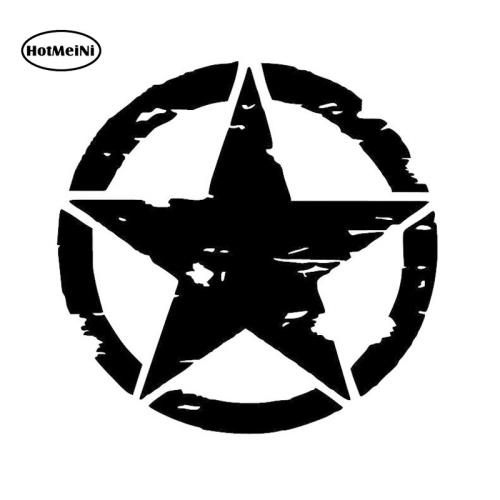 HotMeiNi ARMY Star Car Stickers Graphic Decals Motorcycle Window Bumper Laptop Vinyl Car-styling Waterproof Black/Silver 15*15cm