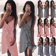 купить Plus Size Casual Beach Dress Women Fashion Striped V-Neck Sleeveless Summer Dress Sexy Spaghetti Strap Backless Party Vestidos дешево