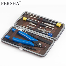 FERSHA Mini Vape DIY Tool Bag Tweezers Pliers Wire Heaters Kit Coil Jig Winding For Packing Electronic Cigarette Accessories e xy flat coil wire 120mm heating wire electronic cigarette 10pcs in a tube for vapor vape rda rta premade resistance wire