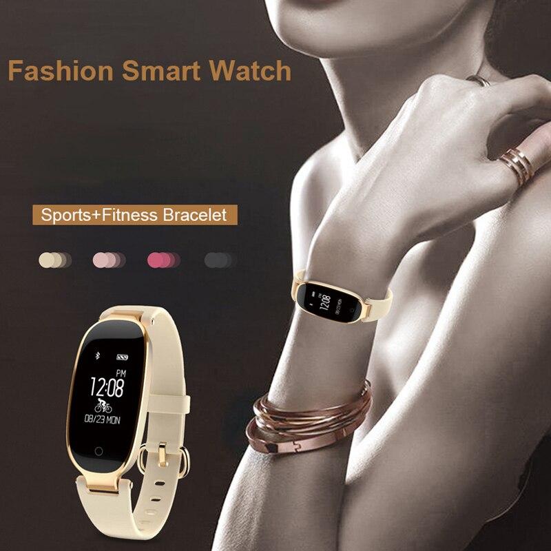 Bluetooth Impermeabile S3 Intelligente Della Vigilanza di Modo Delle Signore Delle Donne Monitor di Frequenza Cardiaca Fitness Tracker Smartwatch 2018 Per Android IOS