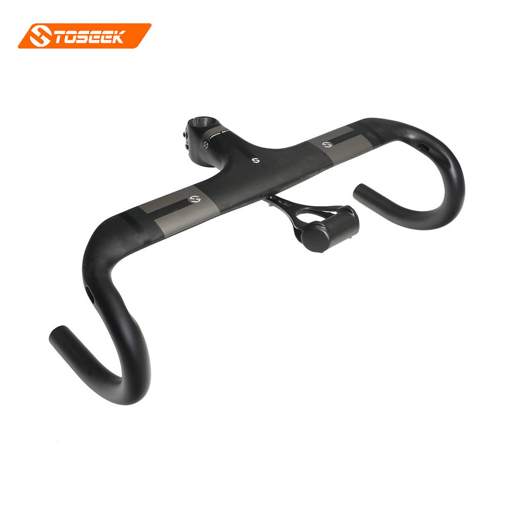 TOSEEK Carbon Fiber Road Bicycle Integrated Carbon Handlebar with 28.6mm stem diameter Carbon Road Handlebar Bike Parts toseek full carbon fibre bicycle road handlebar integrated bike handlebar stem cycling bent bar ud matte gloss balck logo