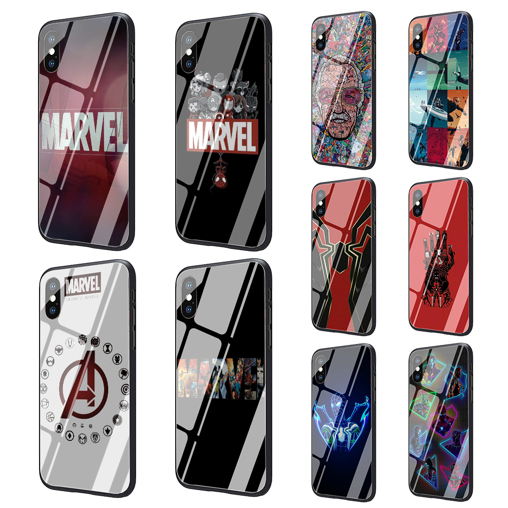 Marvel Superheroes Tempered Glass Soft TPU Black phone cover case for iphone 5 5s 6 6s 7 8 plus X XR XS MAXMarvel Superheroes Tempered Glass Soft TPU Black phone cover case for iphone 5 5s 6 6s 7 8 plus X XR XS MAX