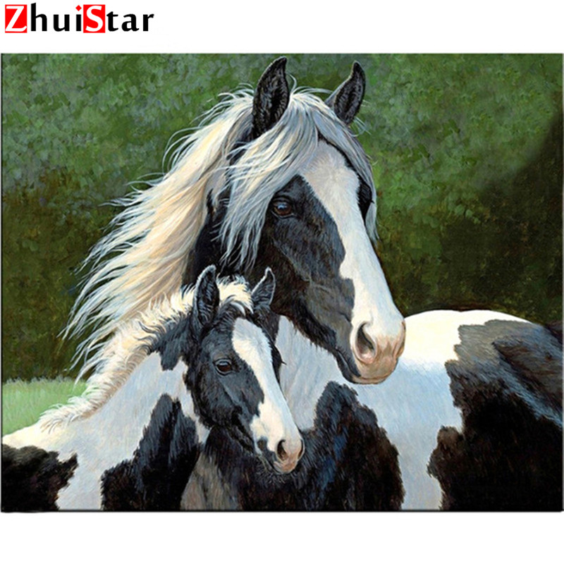 Two White Horse 50x38cm Full Drill Diamond Embroidery 3d Diamond Cross Stitch Fashion Diamond Mosaic Pictures Of Rhinestones Zx Carefully Selected Materials Home & Garden