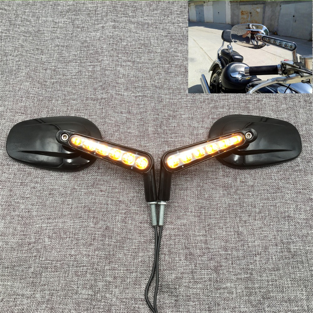 Rear View Mirrors LED Turn Signals For Harley Davidson VRSCF V Rod