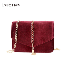 Lydztion Autumn Winter Fashion Fringed Messenger Bag 2017 Warm Sweet New Casual Velvet Small Clutch Bag Chain Mini Shoulder Bags