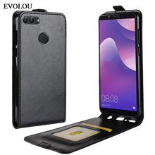 Vertical Flip Leather Cover for Huawei Y9 2018 Case Enjoy 8 Plus UP Down Phone Bag