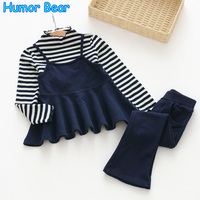 Humor Bear Girls Clothing Sets 2017 New Autunm Sets Children Clothing Fake Two Piece Stripe Design