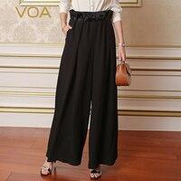 Voa тяжелый шелк Широкие Брюки Офисные длинных брюк для женщин; большие размеры 5XL свободные Высокая талия сплошной черный краткое основной В