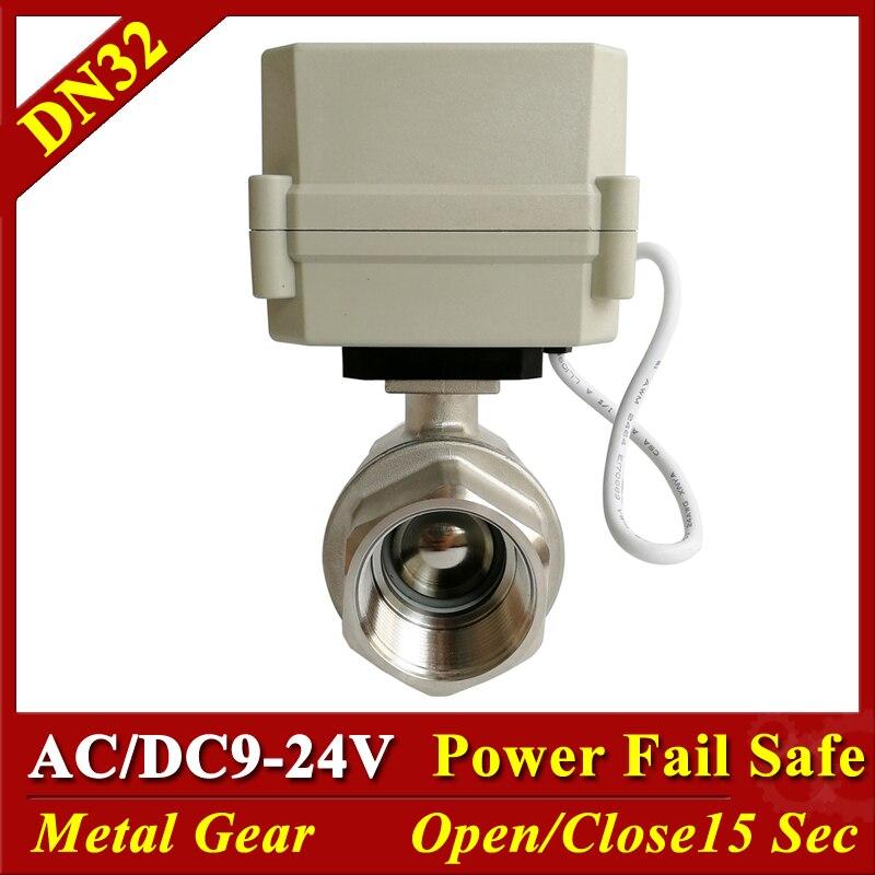 Tsai Fan NPT/BSP DN32 de acero inoxidable energía normalmente válvula cerrada AC/DC 9V-24V de potencia de válvula abierta 1-1/4