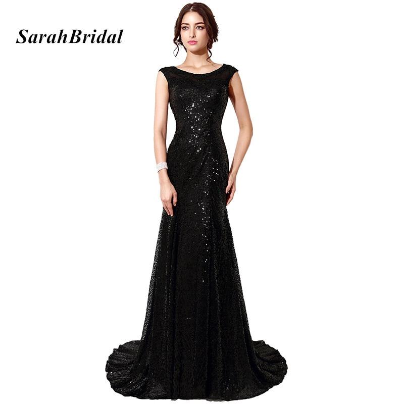 Elegant Sequin Prom Dresses Long Black Red Blue Cap Sleeve Mermaid ...