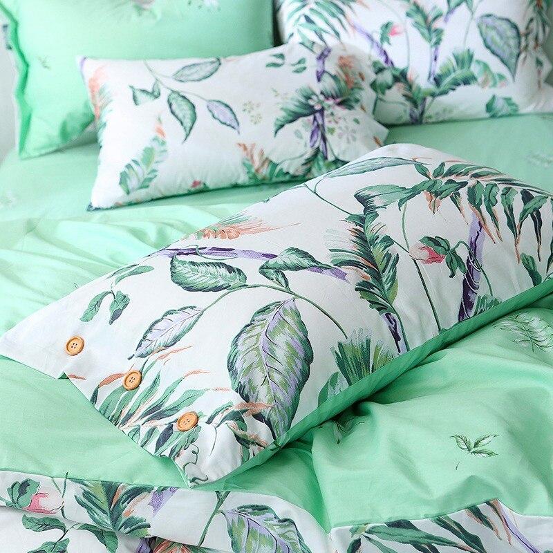 TUTUBIRD blanco y verde hoja impresión floral del lecho hojas árbol ...