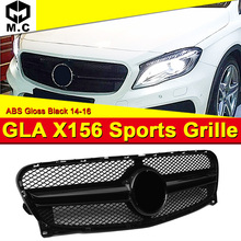 For Mercedes X156 GLA Class Sport grille grill Add on Style GLA45 Look ABS Black GLA200 GLA220 GLA250 grills Without Sign 14-16
