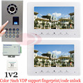 1v2 Fingerprint/Code Unlock Video Door Phone Video Intercom Systems Outdoor Unit Waterproof(IP65) Doorbell Intercom Color 7inch