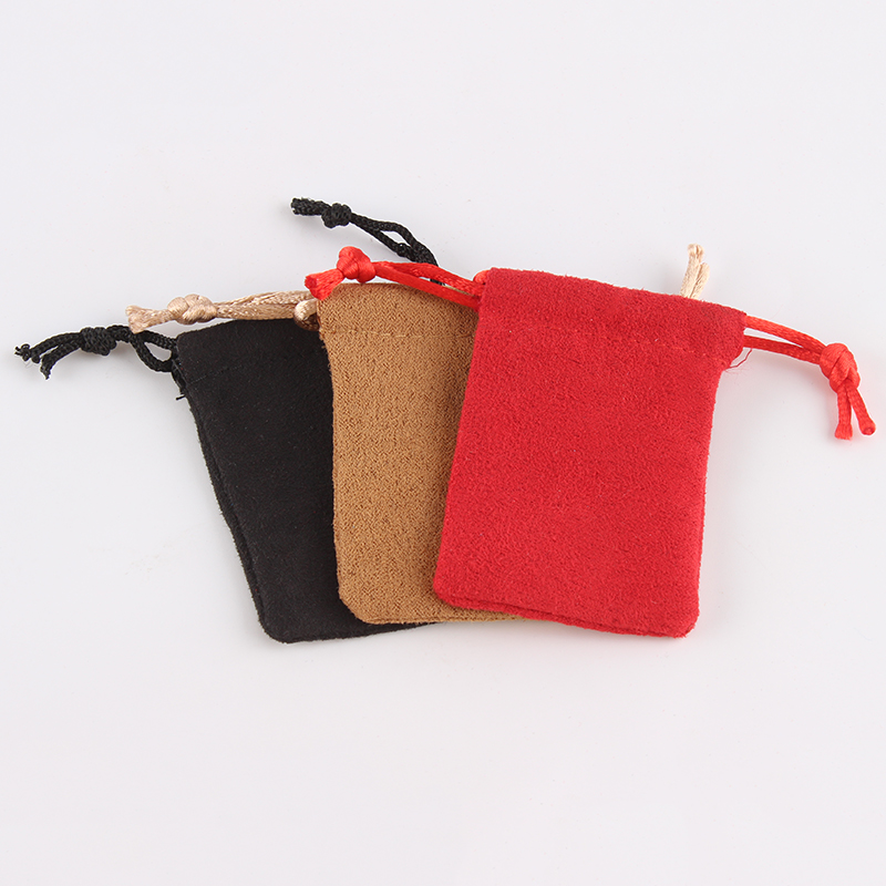 100pcs/lot 5*7 Cm Suede Drawstring Pouch Wholesale Price Packing Christmas Jewelry Pouch Bag