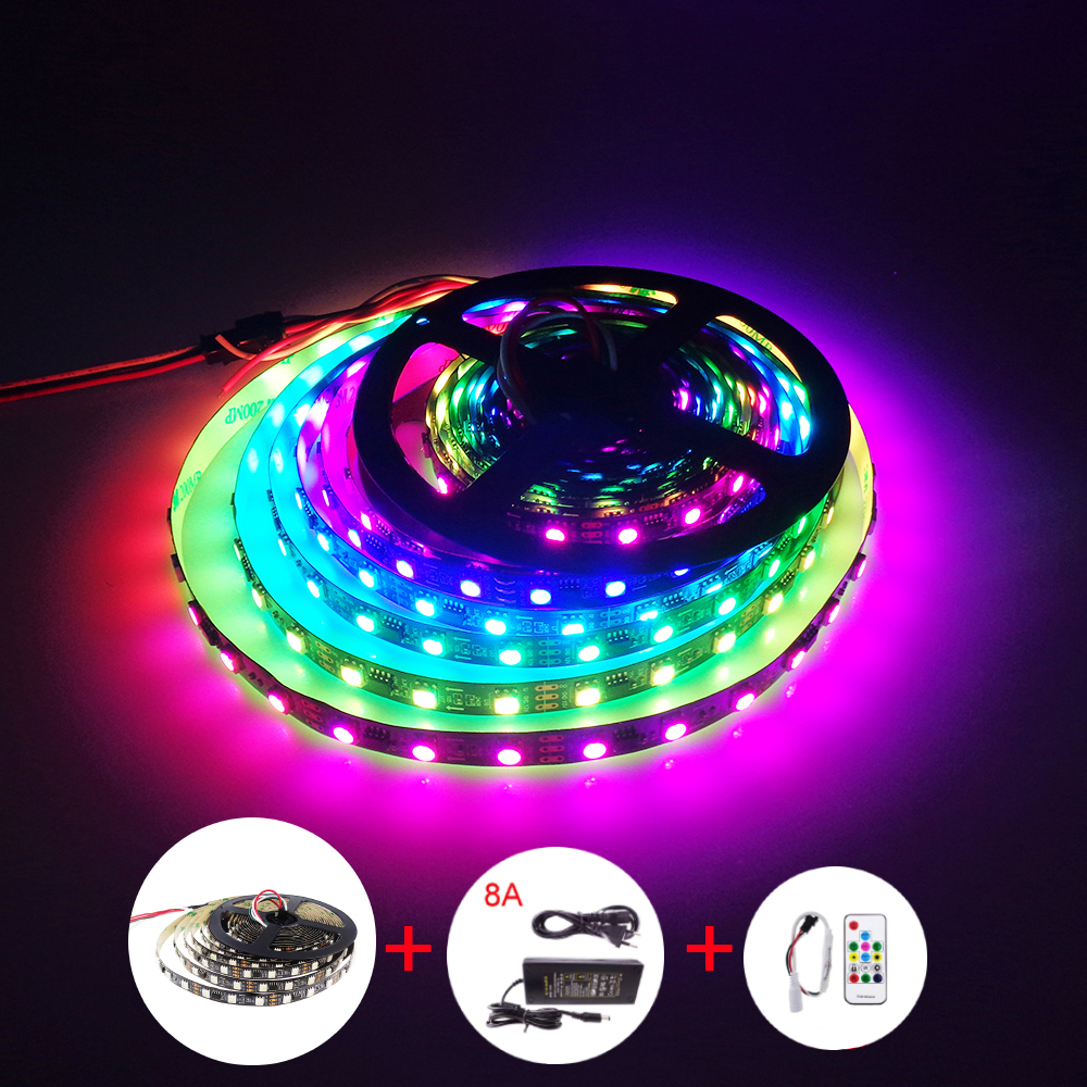 ws2811 IC Led Strip 60LED/m with 8A power SP103E Controller 5M/lot addressable individual 5050 RGB SMD chip indoor outdoor VR