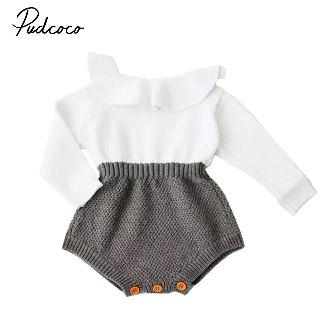 2020 Spring  Warm Clothes Newborn Baby Girl Wool Knitting Tops Long Lotus Collar Sleeve Romper Outfits Girl Clothes Age 0-24M