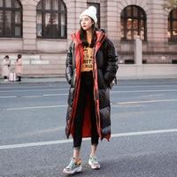 Fashion New Winter Jacket Women Hooded Long Coat Korean Thick Warm Padded Jacket Women Parka Casual Black Down Cotton Outwear