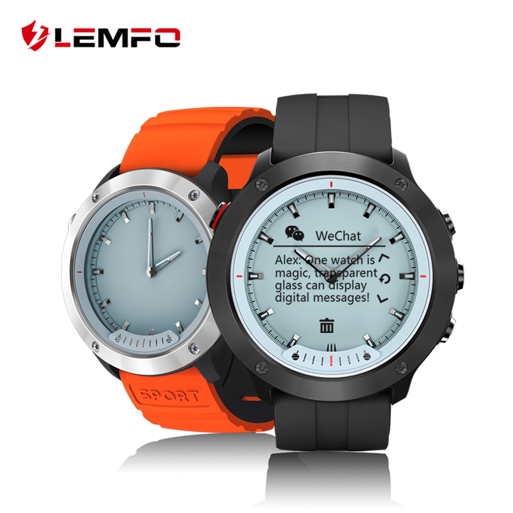 LEMFO Transparent Screen Smart Watch Men IP68 5ATM Waterproof Noctilucent Outdoor Sport Smartwatch For Android 10 Days Standby