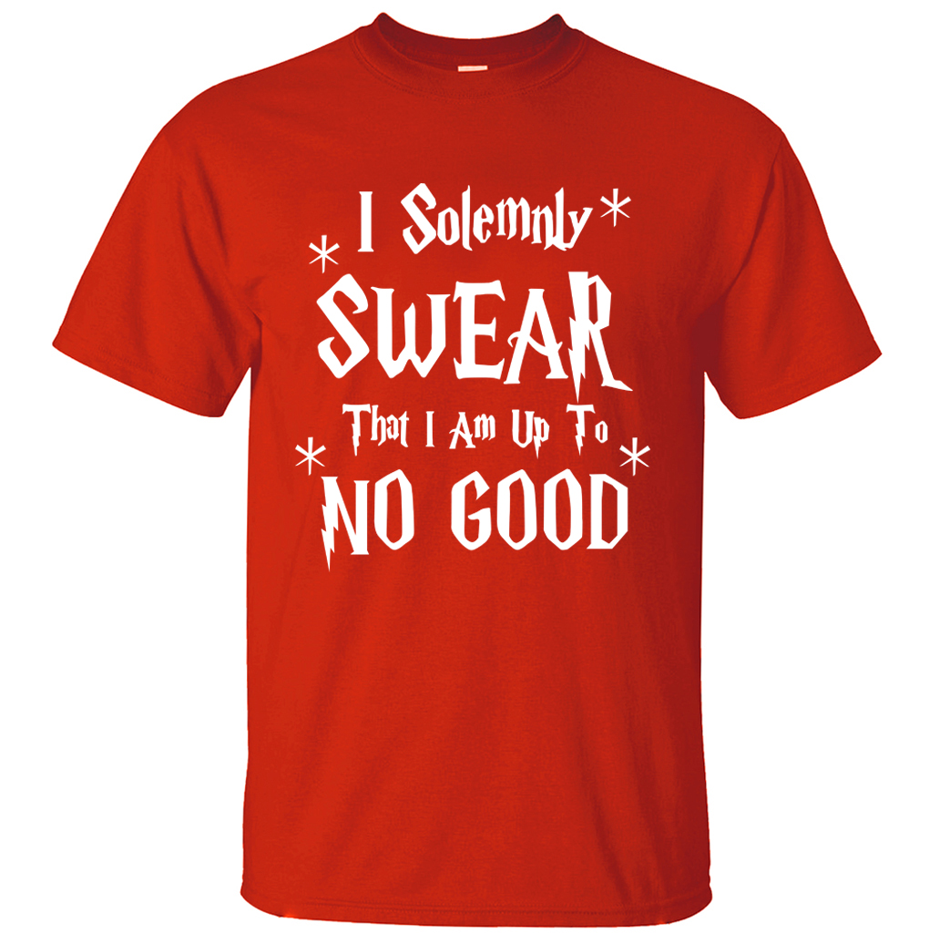 Funny Men T-Shirt I Solemnly Swear That I Am Up To No Good letters print 2019 new summer 100% cotton casual loose fit top tees