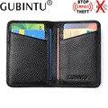 Gubintu cuero genuino de la vaca moda titular de la tarjeta de crédito caja de tarjeta de visita de cuero titular de la tarjeta de identificación rfid bloqueo jimei-01170