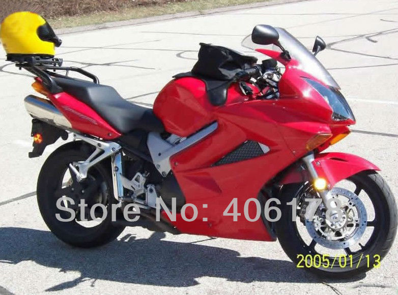 Hot Sales,2002 2003 2004 2005 2006 2007 2008 For Honda VFR800 02-12 VFR 800 2002-2012 Red Motorcycle Fairing (Injection molding)