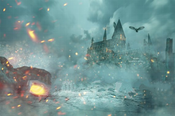 Harry Potter Deathly Hallows Hogwarts Castle Owl Flame Bokeh