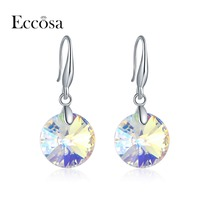 ECCOSA New Arrival Roung Earrings For Woman Fashion Jewelry Free Shipping Statement Earring Made With Crystal