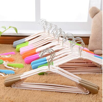 5Pcs in Hanger Rotatable Non-Slip Plastic ABS Widening Thicker Bold Bright Colorful Summer T-shirt Racks Clothes Coat Suit