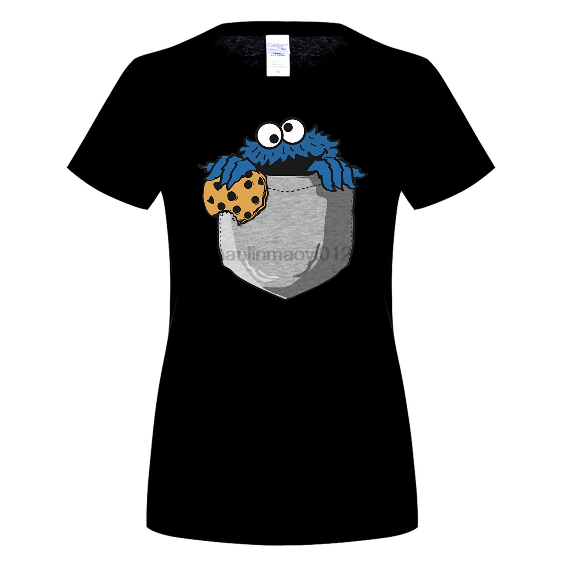 GILDAN Cookie Monster T Shirt For women Crumbs in My Pocket Homme O Neck Short Sleeve Ts ...