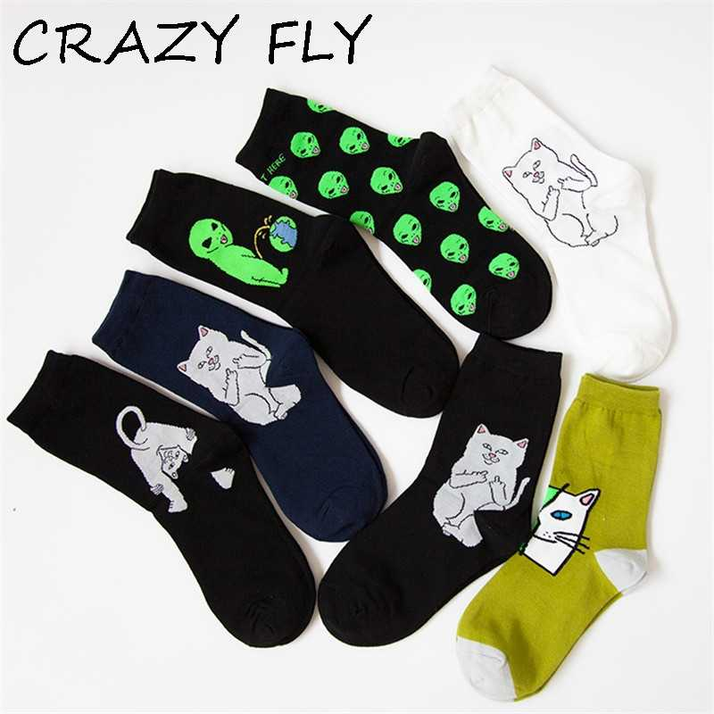 CRAZY FLY Art Funny Men Socks Winter and Autumn Funny Cat Bad Aliens Printed Patterned Lady Ankle Long Happy Cotton Socks 2019