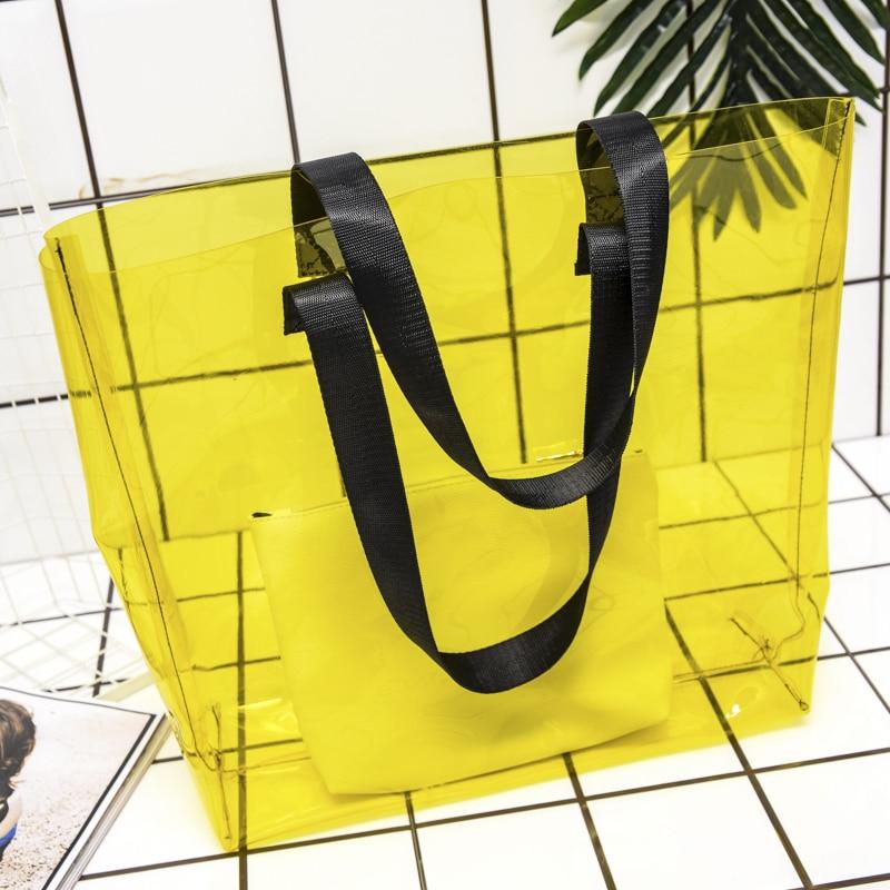Candy Transparent Bag Swimming Bags Handbags Pool Beach Pouch Shoulder Sports Pack 2pcs Stes Sac De Sport Yoga Fitness XA561WA
