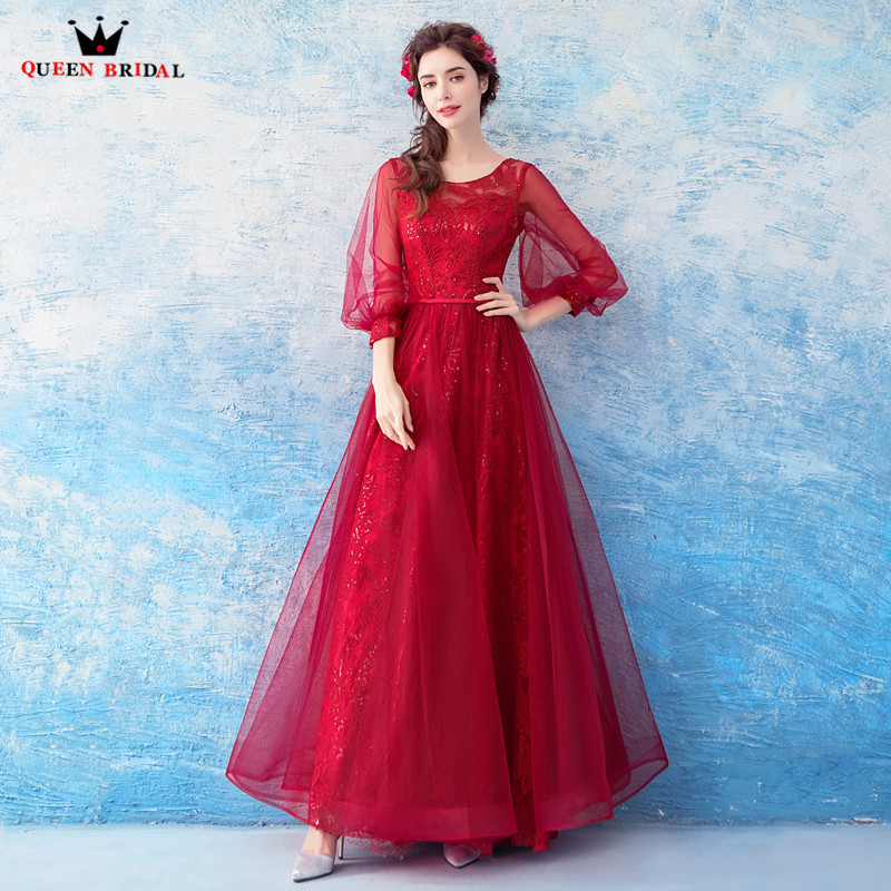 QUEEN BRIDAL 2018 New Fashion Evening Dresses Red Lace Tulle Floor Length Sleeves Prom Party Dresses