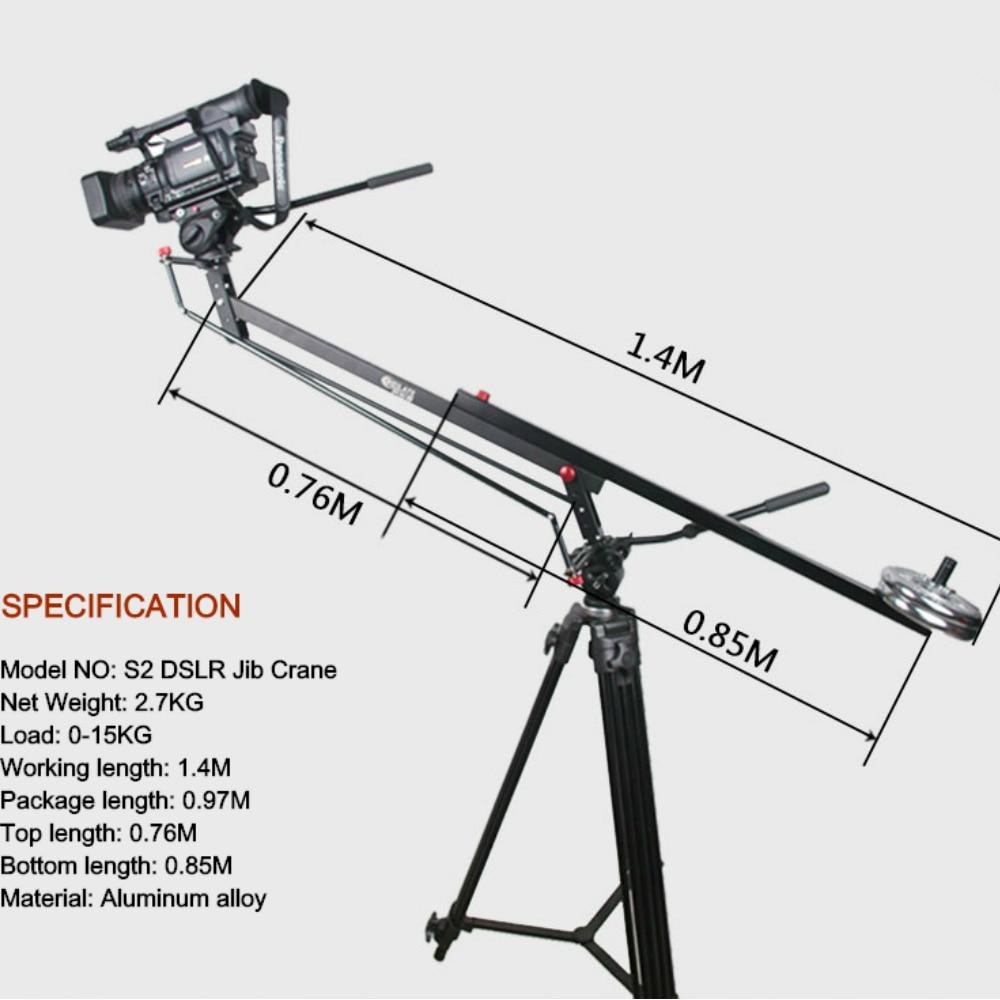 Nouveau 15 KG MINI DSLR grue à flèche extensible en aluminium potence Portable caméra vidéo grue à flèche 1.4 M longue grue à flèche légère
