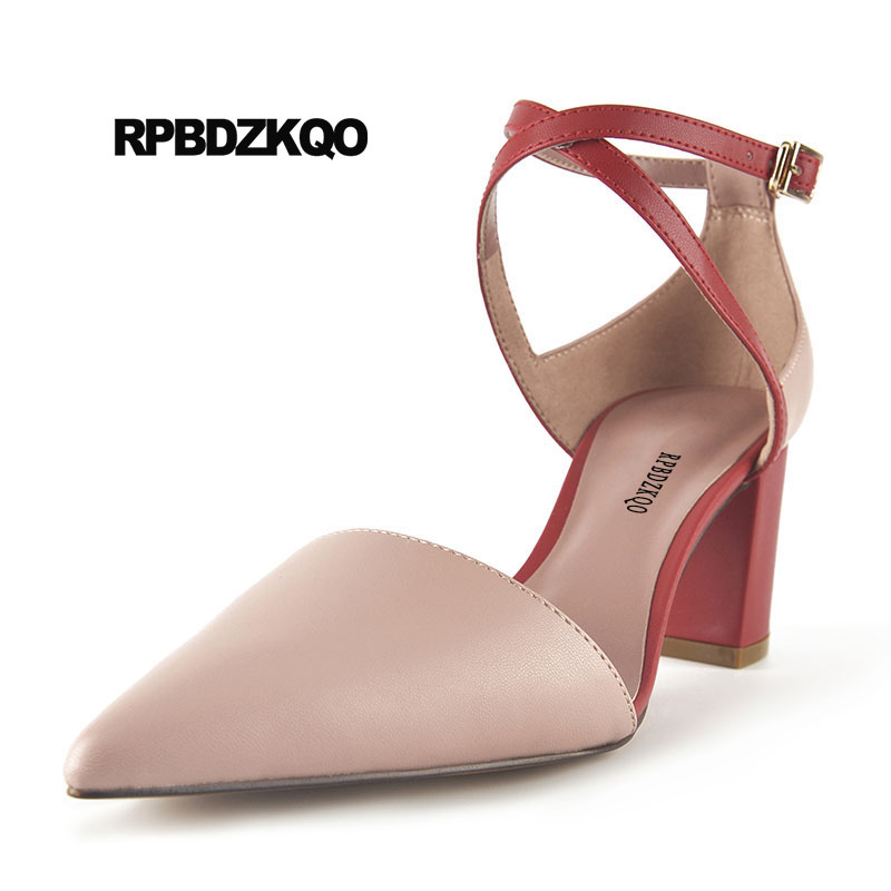Ankle Strap Chunky Elegant Cool Designer Pointed Toe Pink High Heels Sandals Women Fashion 2018 Summer Shoes Cross Pumps Closed summer new pointed thick chunky high heels closed toe pumps with buckle ankle wraps sweet sandals women pink black gray 34 40