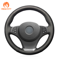 MEWANT Black Artificial Leather Car Steering Wheel Cover for BMW E83 X3 2003 2010 E53 X5 2004 2006