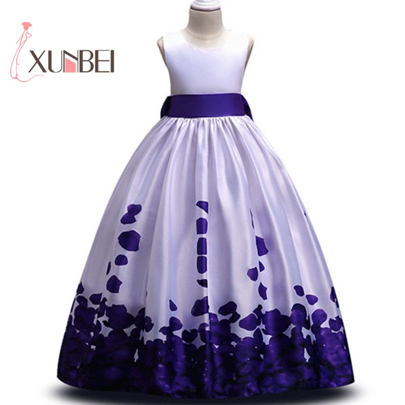 Floor Length Satin Flower Girl Dresses 2018 Floral Pattern Girls Pageant Dresses First Communion Dresses Evening Party Gown