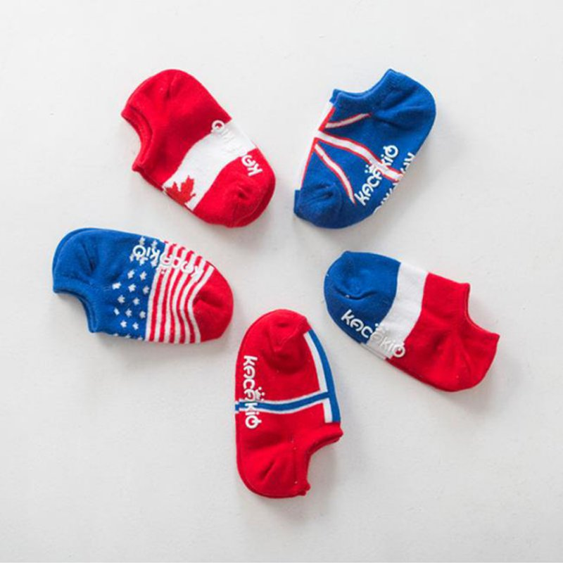 Newest 0-4Year Toddler Kids Baby Socks Flag Pattern Cotton Anti-slip Casual Ankle Socks
