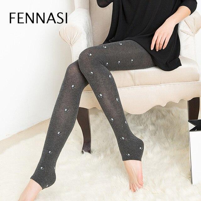 d2dde9b01 FENNASI Sexy Autumn Winter Women Leggings Thick Warm High Waist Leggings  Female Print Bear Paw Stirrup Cotton Leggings Pants