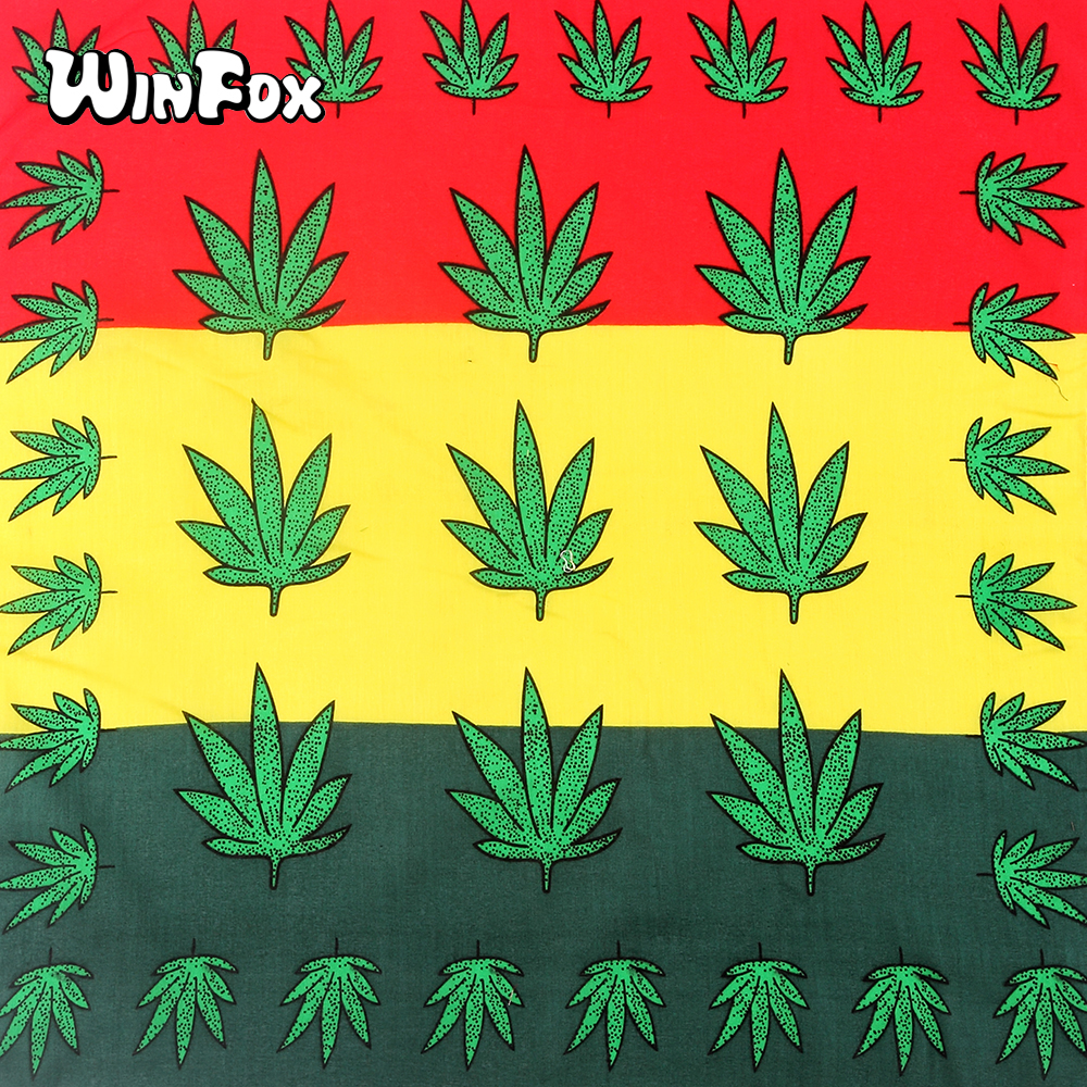Winfox Fashion Small Square Cotton Bandana Men Green Weed leaf Headband Bag   Scarves   Headwear Wristband   Wrap   For Women