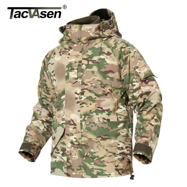 TACVASEN Winter Camouflage Waterproof Jacket Military Tactical Jacket Coat Men's Army Windbreaker Thermal Fleece liner Jacket
